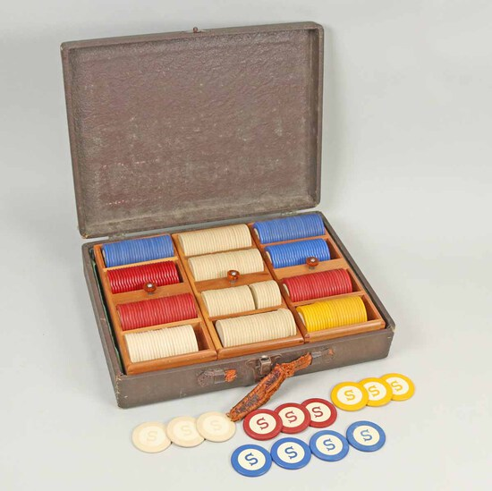 Old Poker Chips w/ Trays & Box