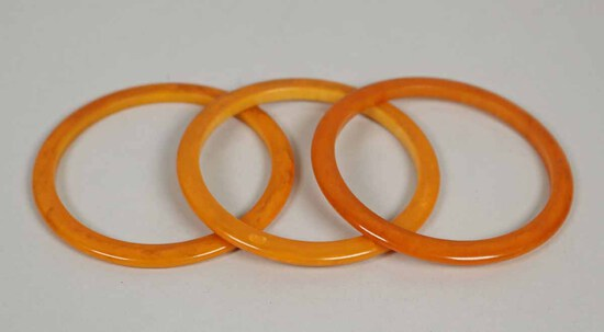 Butterscotch Colored Bakelite Bangle Bracelets