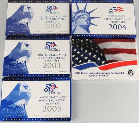 2004 US Mint Proof Set+US Mint 50 State Quarter Proof Sets; 2002,2003,2005,2010