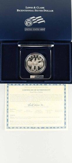2004 Lewis & Clark Bicentennial Silver Proof Dollar w/COA & Box