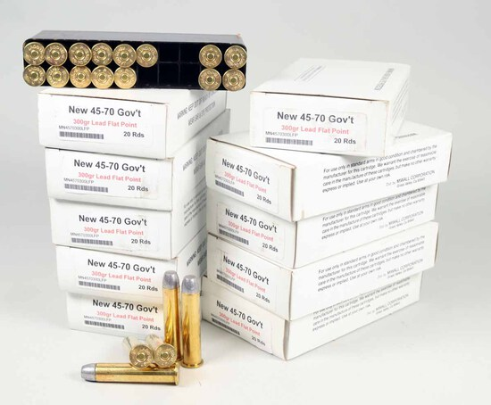 45 -70 Gov't 300gr Lead Flat Point Ammo, 200 Rds.