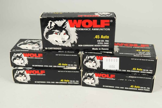 Wolf .45 Auto, 230 Gr. FMJ Ammo, 250 Rds.