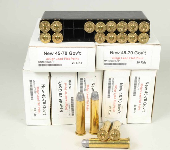 45-70 Gov't 300gr Lead Flat Point Ammo, 140 Rds.
