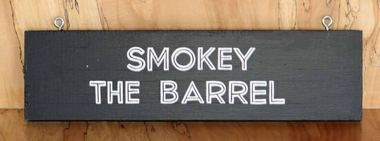 Smokey the Barrel Sign Board