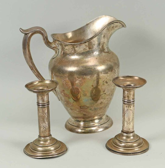Sterling Silver Pitcher & Candlesticks, 867 Grams