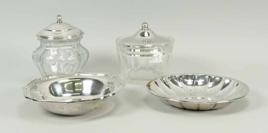 Small Sterling Silver Bowls & Sterling Lidded Condiment Jars, 263.5 Grams