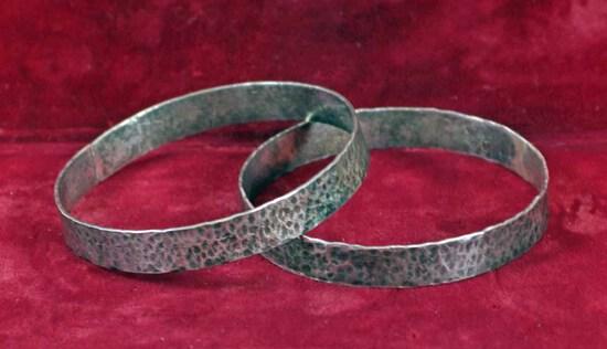 Hammered Sterling Silver Bracelets
