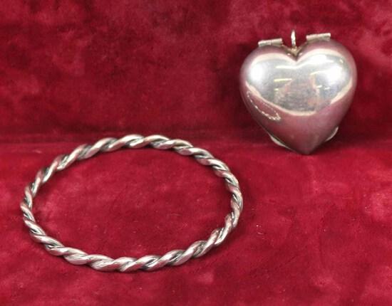 Twisted Sterling Silver Bracelet & Large Sterling Locket