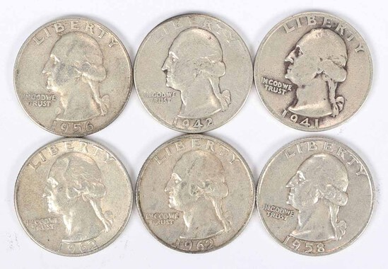 6 Washington Silver Quarters