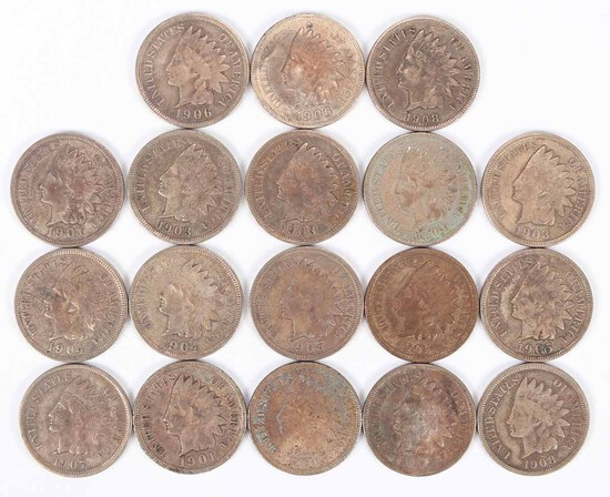 18 Indian Head Pennies (see picture of notes)