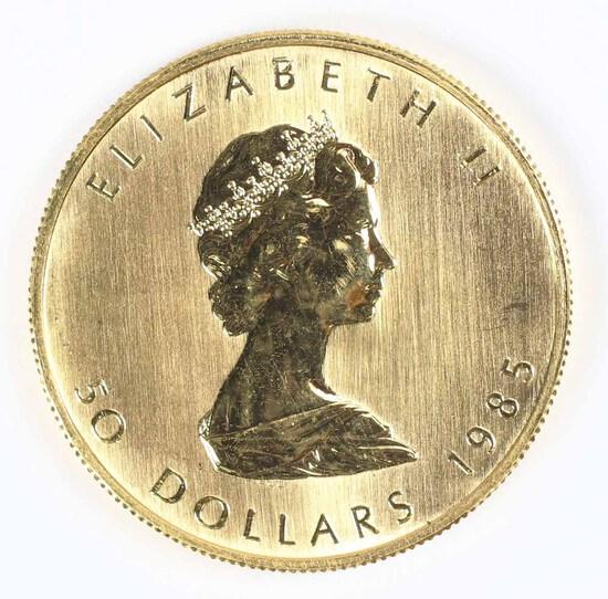 1985 1-Oz $50 Fine Gold Canada Maple Leaf