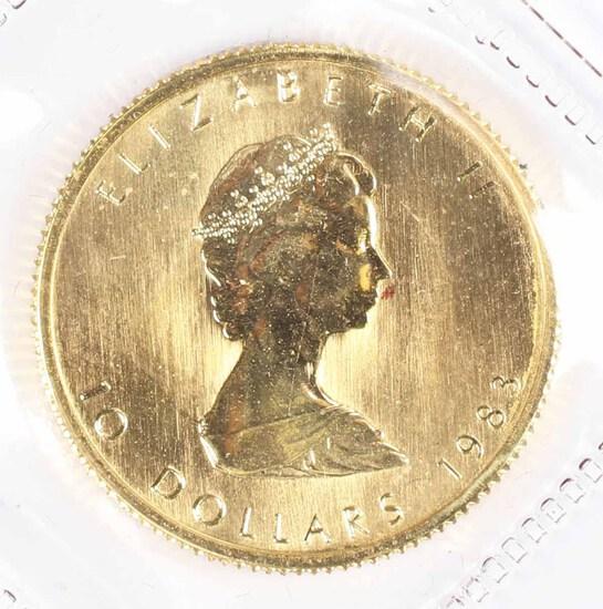 1983 1/4-Oz $10 Fine Gold Canada Maple Leaf