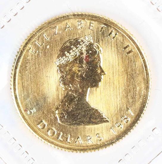 1987 1/10-Oz $5 Fine Gold Canada Maple Leaf