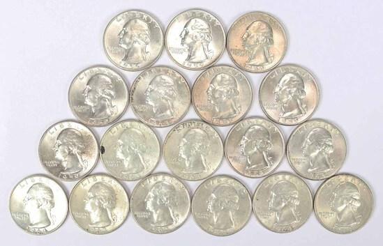 18 Washington Silver Quarters