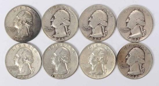 8 Washington Silver Quarters