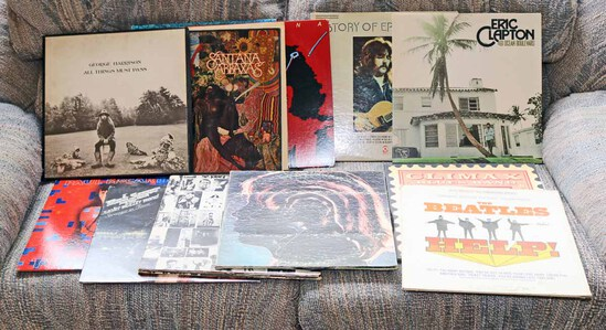 Vinyl LP Records: Beatles, Stones, Clapton, Santana, Seeger & More