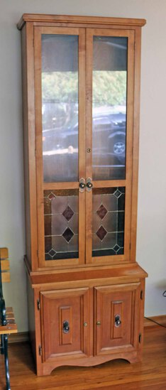Hand Made Gun Cabinet w/ Stained Glass Inserts