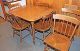 Maple Finished Table w/ 6 Heywood Wakefield Chairs