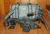 Canon T50 SLR Film Camera w/ Lenses & Bag