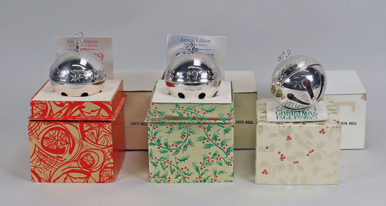 Wallace  Silver Bell Ornaments: 1972, 1973, 1974