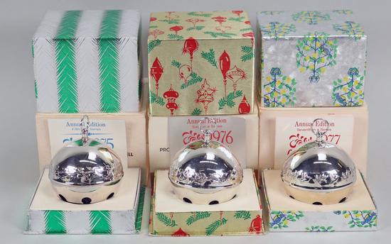 Wallace  Silver Bell Ornaments: 1975, 1976, 1977