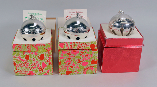 Wallace Silver Bell Ornaments: 1978, 1979, 1971- 1995
