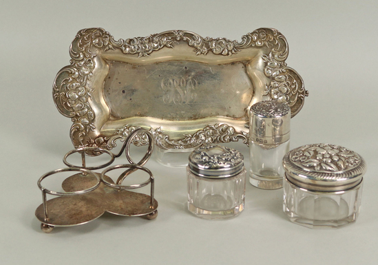 Sterling Vanity Items & Small Tray, 87.8 + Grams