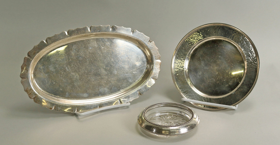 Sterling Silver Tray, Plate & Rimmed Coaster, 196.5  Grams