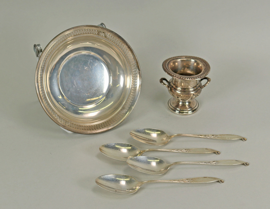 Sterling Silver Bowl, Spoons & Gump's Table Item, 248.6 Grams