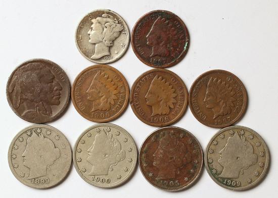 1936 Mercury Dime, 1923 Buffalo/Indian Head Nickel, 1906/1907 Indian Head Penny &