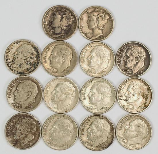 2 Mercury Silver Dimes & 12 Roosevelt Silver Dimes, various dates/mints
