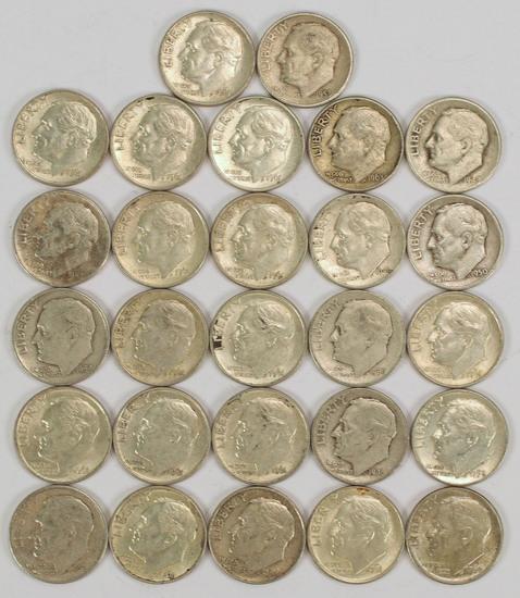 27 Roosevelt Silver Dimes, various dates/mints