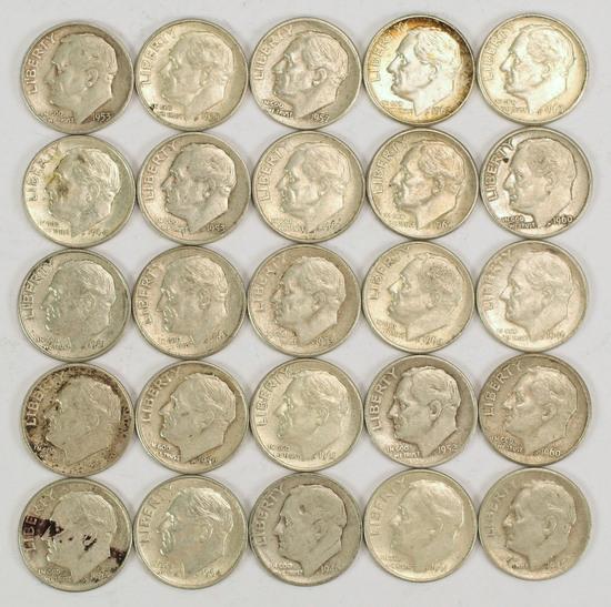25 Roosevelt Silver Dimes, various dates/mints