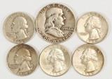 1952-D Franklin Silver Half & 4 Washington Silver Quarters (1954,1961,3-1964)