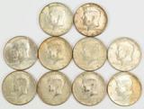 10 - 40% Silver Kennedy Half Dollars, 2-1967,3-1968,5-1969
