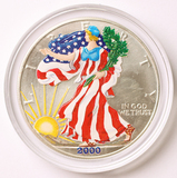 2000 American Eagle Silver Dollar in Full Color w/COA, 1oz Fine Silver
