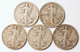 5 Walking Liberty Silver Half Dollars, 1923-S,1927-S,1928-S,1929-S,1933-S