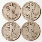 4 Walking Liberty Silver Half Dollars, 1917-P,1917-S,1918-P,1918-S