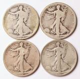 4 Walking Liberty Silver Half Dollars, 1918-D,1919-S,1920-P,1920-S