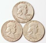 3 Franklin Silver Half Dollars, 1953-S,1955-P,1963-P