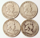 4 Franklin Silver Half Dollars, 1948-P,1948-D,1949-P,1949-D