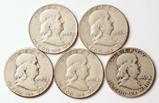 5 Franklin Silver Half Dollars, 191951-D,1951-S,1952P,1952D,1952-S