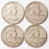 4 Franklin Silver Half Dollars, 1949-S,1950-P,1950-D,1951-P