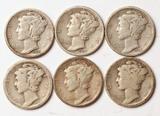 6 Mercury Silver Dimes, 1926-S,1927-S,1928-P1928-D,1931-D,1931-S