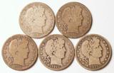 5 Barber Silver Half Dollars, 1909-S,1910-S,1911-S,1913-S,1915-S