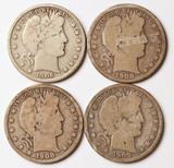 4 Barber Silver Half Dollars, 1909-S,1906-S,1908-S,1908-D1909-O