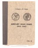 Book of Mercury Head Silver Dimes, Incomplete, 1916-1945