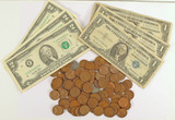 100 +/- Wheat Pennies, 3 Blue Seal Silver Certificates & 3 $2 Federal Reserve Notes