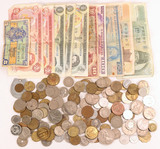 Large Bag of Foreign Notes & Coins & Tokens