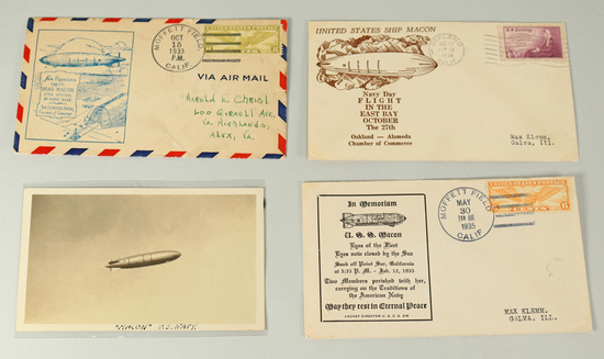 U.S.S. Macon Airship Stamped Envelopes & Original Photo